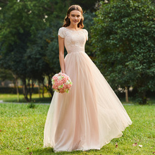 Tanpell lace bridesmaid dress scoop neck cap sleeves floor length a line gown women wedding party formal long dresses