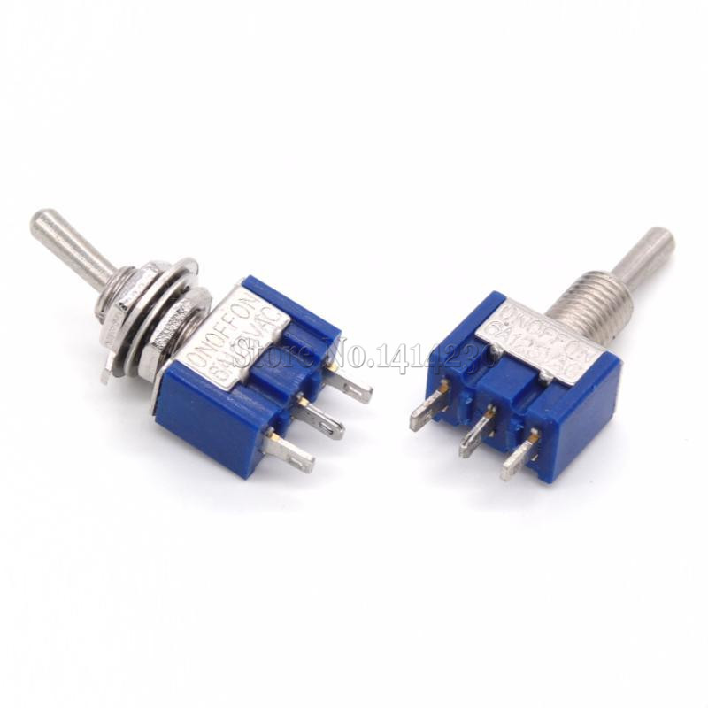 цена на 10Pcs MTS-103 3-Pin ON-OFF-ON 6A 125V 3A250VAC Mini Blue Toggle Switches