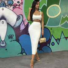 Colysmo White Two Piece Set Top And Long Skirt Sexy 2 Women Autumn Bodycon Crop Club Outfits 2018