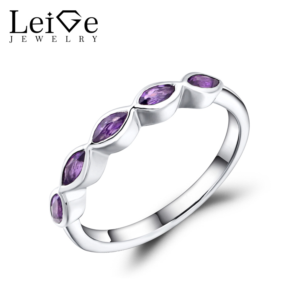 Leige Jewelry Wedding Band Natural Amethyst Ring Marquise Cut Purple Gemstone Sterling Silver 925 Fine Jewelry Stackable Rings