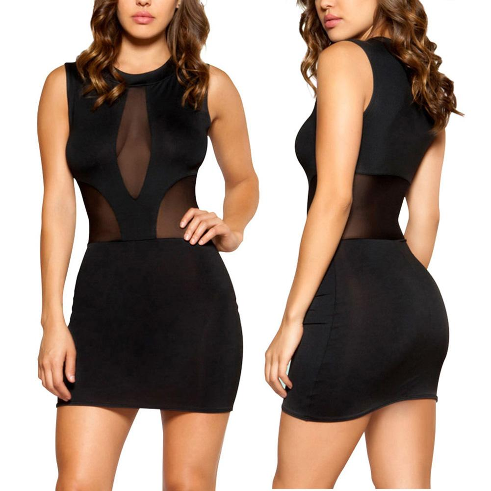 Sexy Nightwear Summer Women Sleeveless Sleepwear See through Mesh Bodycon Mini Dress   Sleepshirts   Lady Lounge   Nightgowns