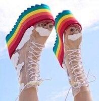 Новейшая юбка радужных цветов для девочек Цвета на толстой платформе; сапоги с теплым носком обувь чистая, поливинилхлоридная, прозрачная,