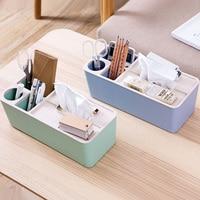 Wheat Straw Multifunction Tissue Box Plastic Storage Box Organizer Office Sundries Cosmetic Container