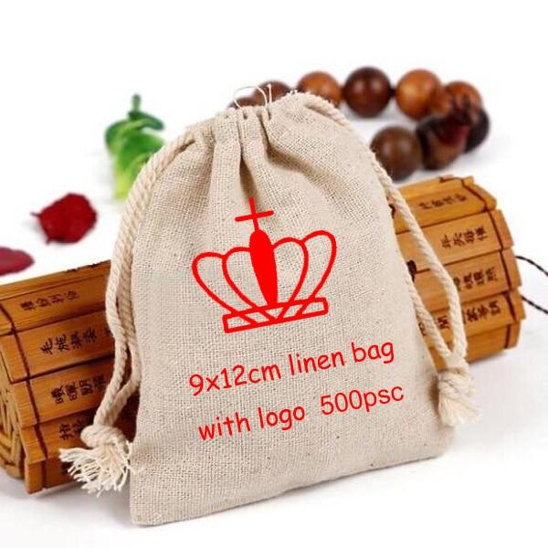 Personalized Logo Linen Drawstring Bag 9x12cm 3 4 8 x 4 6 8 print 1 color