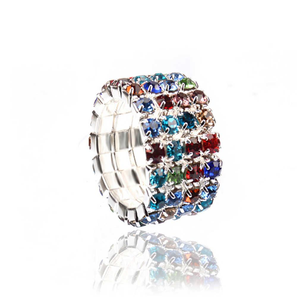 2020 koreański moda elastyczna cyrkon wiele rzędów pierścienie dla kobiet 1/2/3/4 wiersz dżetów srebrny kolor Finger pierścionki biżuteria prezenty