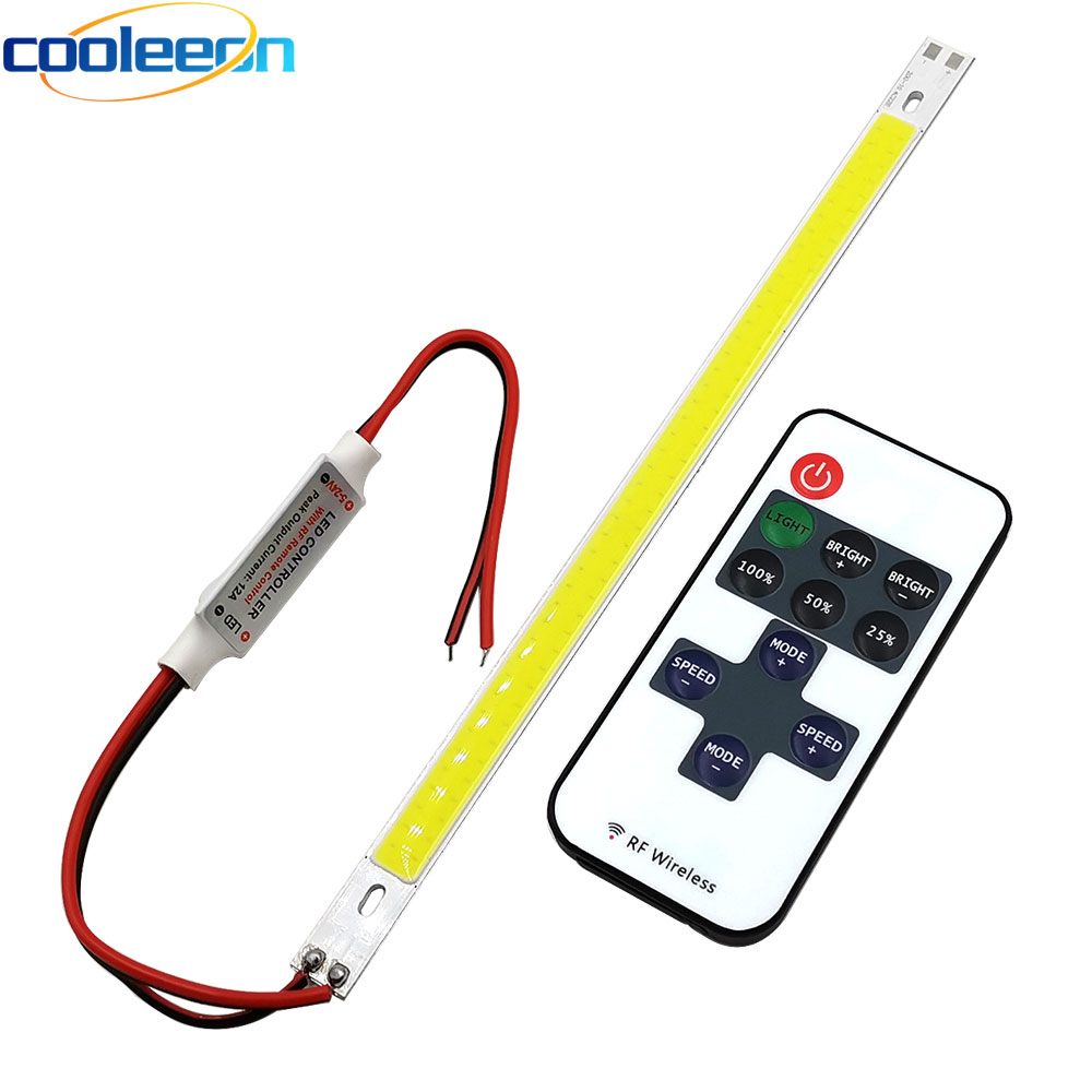 Remote Control LED Bar Light Dimmable COB LED Lamp 200mm COB Strip with Dimmer 12V 220V <font><b>10V</b></font> LED Lighting for DIY Decor Car Bulbs image