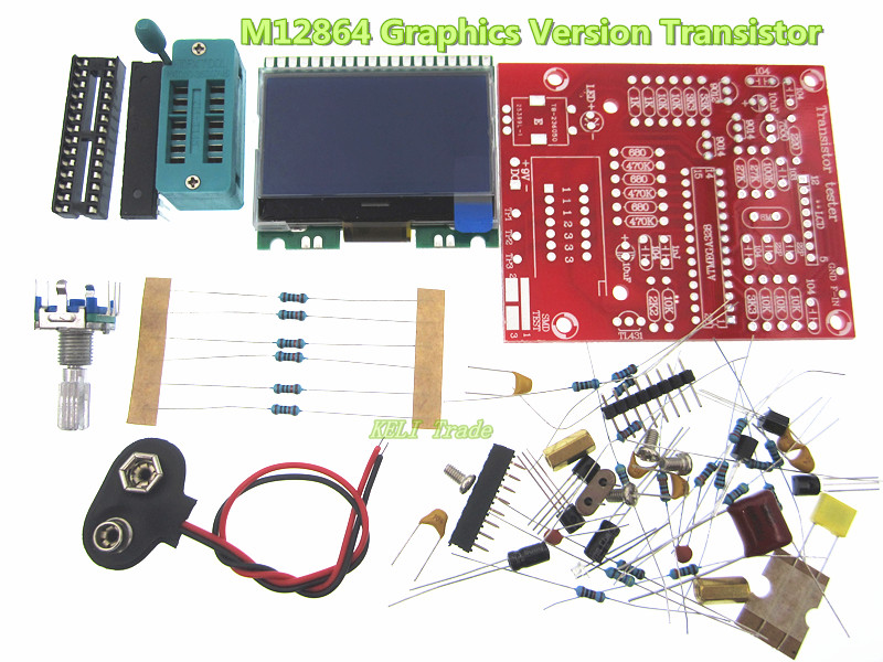 DIY M12864 Graphics Version Transistor Tester Kit LCR ESR PWM free shipping factory price orignal hiland diy m12864 graphics version transistor tester kit lcr esr pwm with case