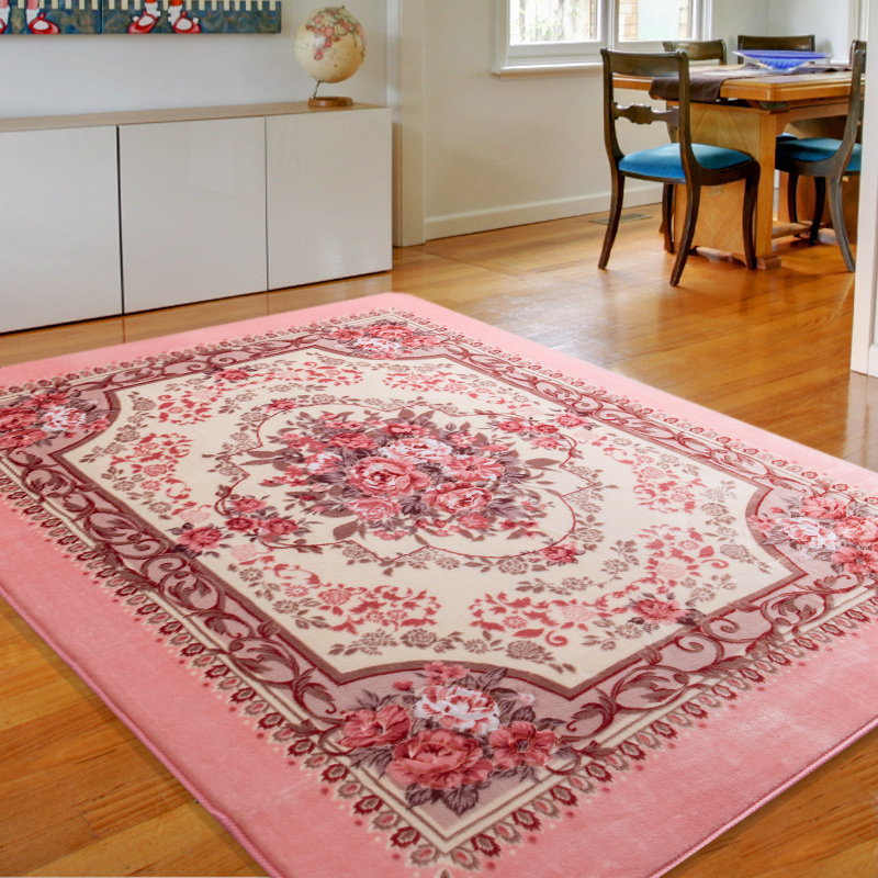Romantic Pink Rose Rug For Living Room,Elegant American Country ...
