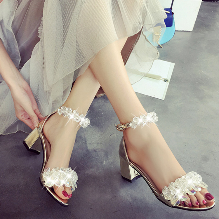 Women Sandals Open Toe Bling Crystal String Bead high heels Shoes Wedding Party Sandals Wedges Platform flats sandals rtg67