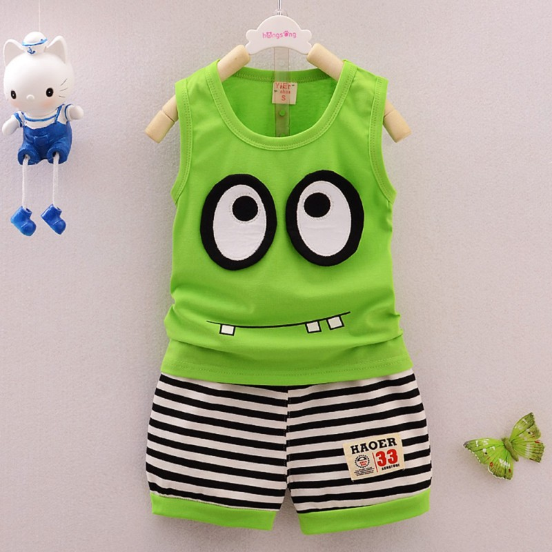 Children Clothing Set Summer Tracksuit for Boys Cotton Cartoon Baby Boy Girls Vest+ Stripe Shorts Sports Outfit