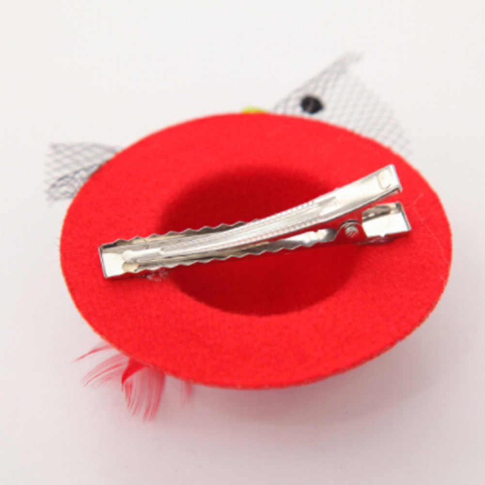 1 pz 7 colori Carino Cappello Cappello delle Ragazze Partito filato della Rete Lucido Clip di Capelli Dei Bambini Della Fascia Piumato Fiori Capelli accessori Forcelle