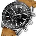 2019 часы мужские люксовый бренд BENYAR мужские s Синий Кожаный браслет для часов наручные часы Мужские Хронограф Часы мужские Relogio Masculino