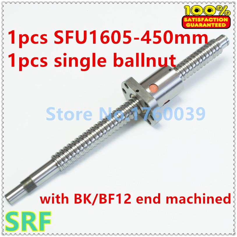 16mm SFU1605 Ballscrew set:1pcs Rolled Ball screw SFU1605 L=450mm+1pcs single Ballnut with BK/BF12 end mahicned CNC Part sfu1605 ball screw l650mm ballscrew with sfu1605 single ballnut for cnc