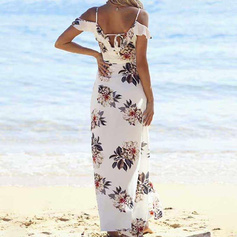 99bc6f7986 ... Summer Beachwear Floral Print Ruffles Chiffon Maxi Long Dress Strap V  Neck Split Dresses Sexy Backless ...