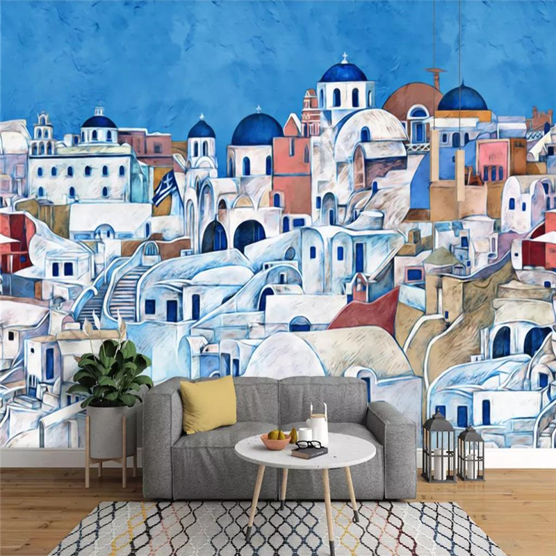 Hand-painted colored house murals background wall professional production wallpaper custom photo