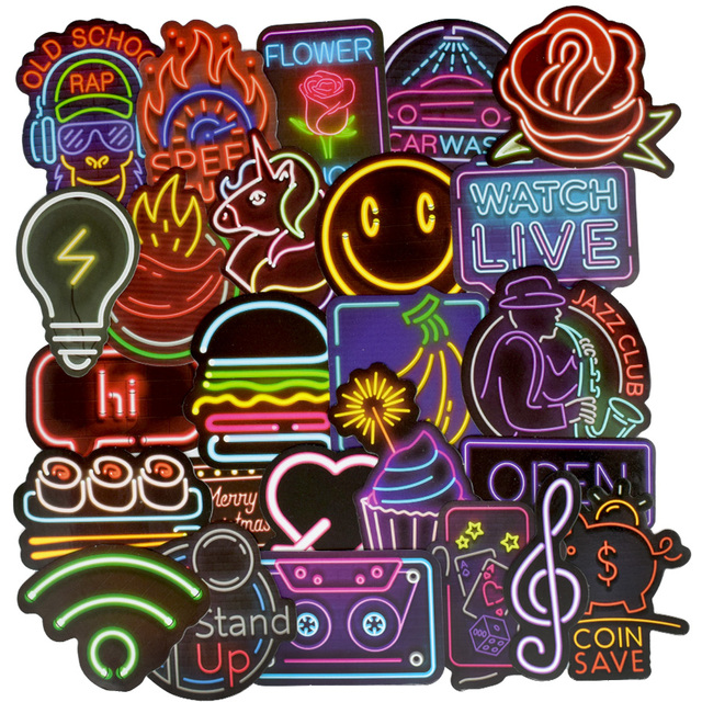 50 PCS Neon Light Sticker Anime Icon Animal Cute Decals Stickers Gifts for Children to Laptop Suitcase Guitar Fridge Bicycle Car