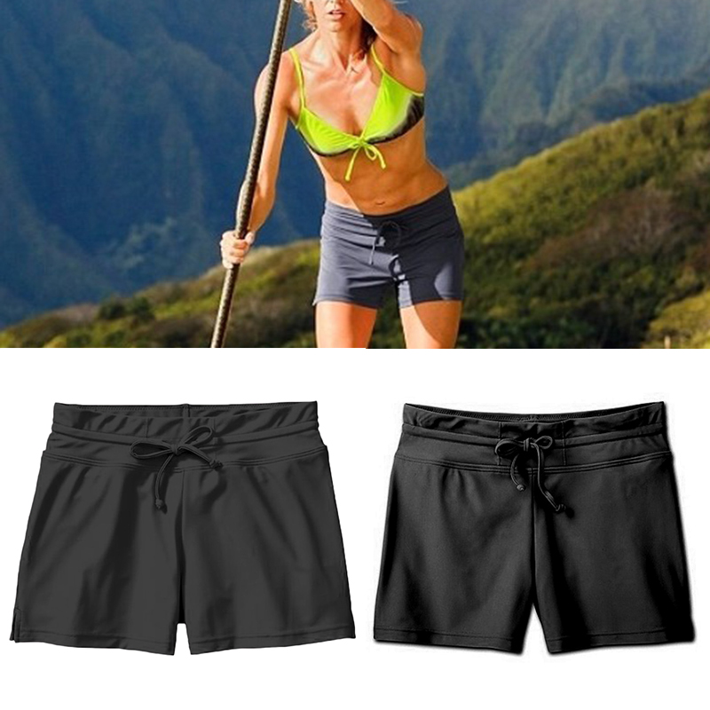 Pant Short Swimming Sports High-Women Casual Solid for Running DOG88