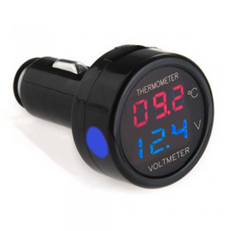 Digital Car Voltmeter Thermometer Temperature Meter Battery Monitor Red Blue Led Dual Display  2 In 1 DC 12V 24V Auto Voltmeter