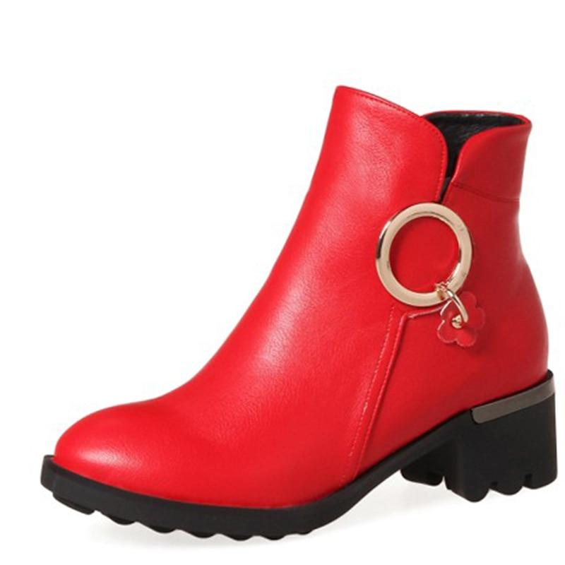 Noir Chaussures Talons Décoration Faible gris Femme Bout Cheville En Mode Rond Enmayla Métal rouge Bottes Femmes xwORqY7z