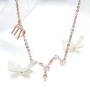 Image 5 - MYBEBOA authentique réel 925 argent Sterling Libr Gemini capricorne scorpion 12 Constellation cristal Taurus pendentif colliers femmes