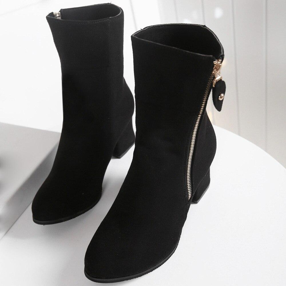 Para Tacón Medio Alto Grueso wine De Invierno 20180924 Tobillo Zapatos Botas Mujer Black YwzXEzq8
