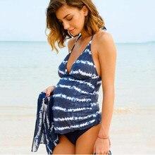 Vintage tankini plus size halter swimwear pregnancy bathing suit Maternity swimming oversize monokini for pregnant