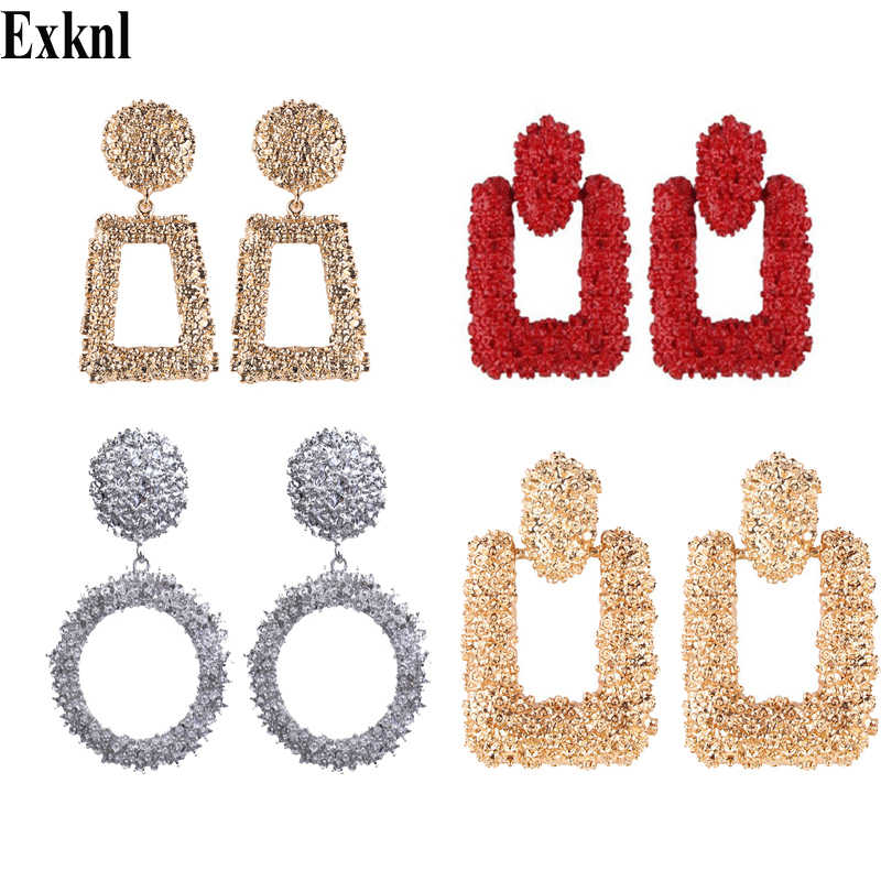 Exknl Round Vintage Earrings for women gold color big earrings 2018 fashion jewellery statement drop earrings trendy Summer