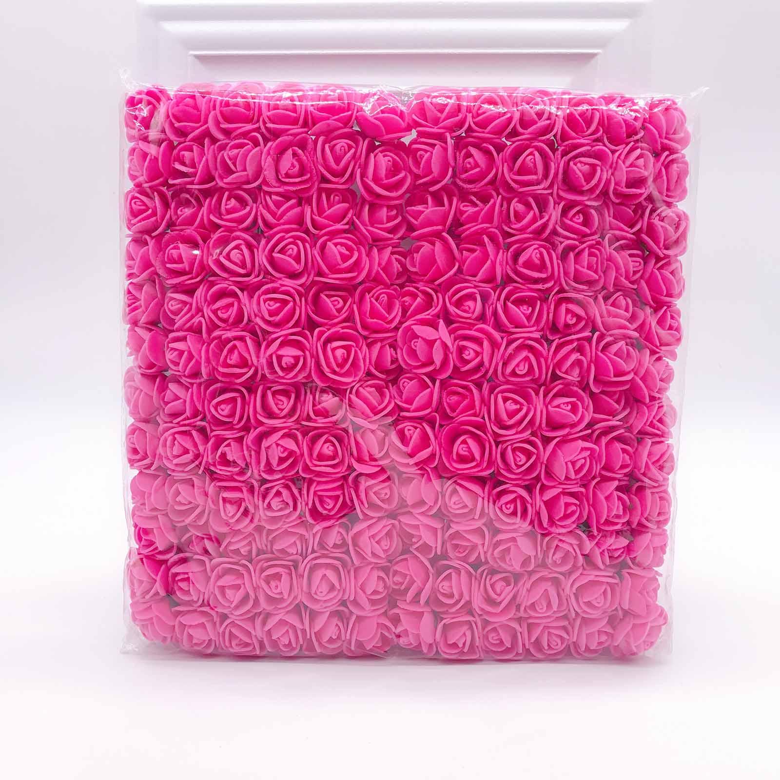 144 шт 2 см мини-розы из пенопласта для дома, свадьбы, искусственные цветы, декорация для скрапбукинга, сделай сам, венок, Подарочная коробка, дешевый искусственный цветок, букет - Цвет: Rose red