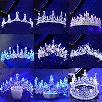 Новые различные светящиеся Короны Диадемы для птиц, синий свет, светодиодная корона для женщин, для вечеринки, свадьбы, головной убор, украш...