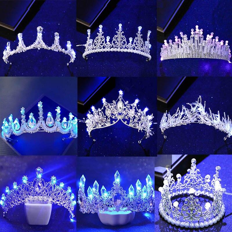 Новинка, различные светящиеся тиары, короны для невесты, синий светильник, светодиодная корона для женщин, вечерние свадебные украшения для...