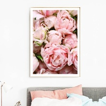 Flower Posters And Prints Pink Rose Scenery Canvas Painting Nordic Wall Art Pictures For Living Room Home Decor Unframed