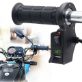 3in1 Motorcycle Handlebar Electric Hot Heated Grips Handle +Voltage +USB Charger