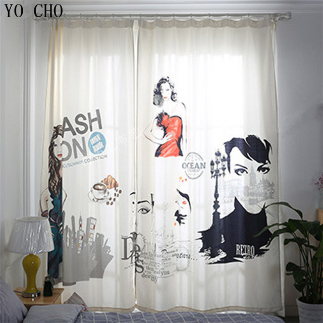 YO CHO Fashion girl Modern Cotton Velvet Blackout Curtains for ...