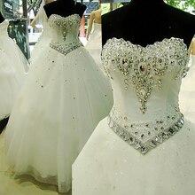 Fansmile 2020 Vestido De Noiva 크리스탈 라인 석 빈티지 볼 웨딩 드레스 Bridal Tulle Mariage 무료 배송 FSM 631F