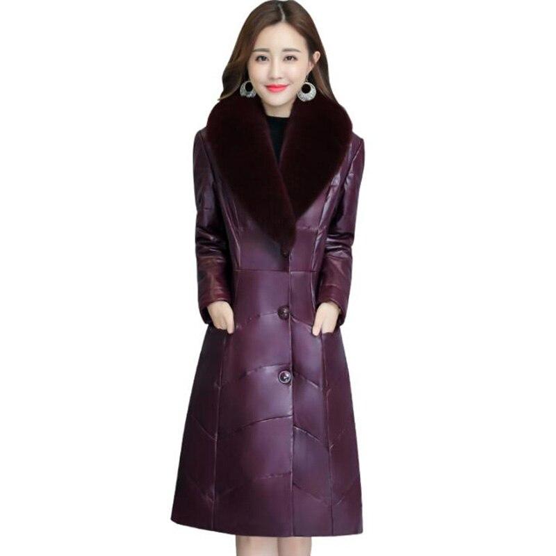 Leather   Jacket Winter Coat Women 2018 New Plus Size Faux Fox Fur Collar Upscale Long Warm Faux   Leather   Down Cotton Slim Coat