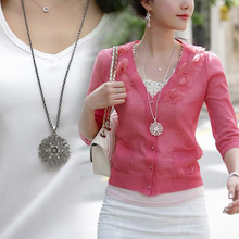 Fashion Women Crystal Hollow Flower font b Necklace b font Long Chain Pendant font b Necklaces