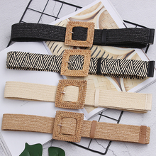 New Vintage Knitted Wax Rope Wooden Bead Waist Women Smooth Buckle Belt Woman Woven Female Hand-Beaded Braided BZ80