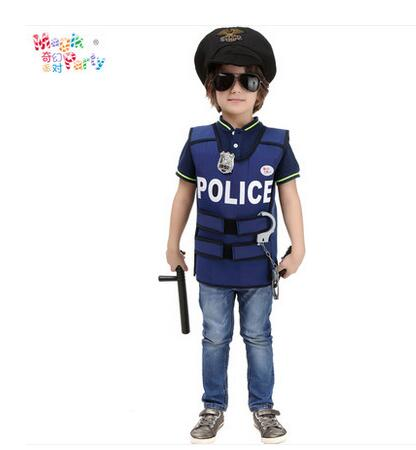 Halloween Game Show party Policeman kid boy Police Cosplay Police Vest Cute BOY Children Performance Clothing