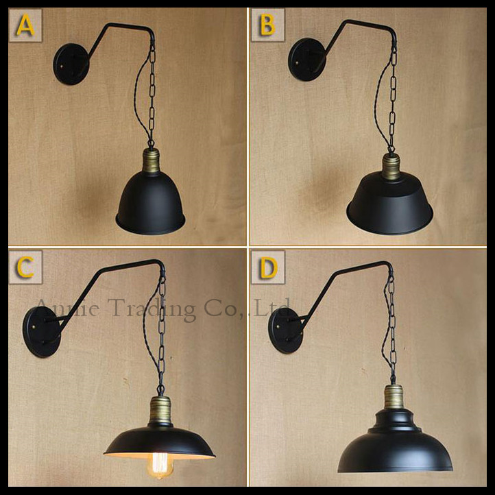 vintage wrought iron wall lamp aisle lights industry bending arm chain hoist American living room bedroom bedside wall lamp american creative fashion led the study bedroom mirror before the long arm of the head of a bed wall lamp wrought iron long arm