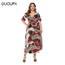 DUOUPA Summer Womens Loose Ladies V-neck Casual Long Dress Female Chain Beach Bohemian