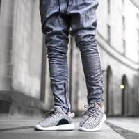 2017 Brand High Street Biker Joggers Men Slim Fit Skinny Sweatpants Harem Pants Mens Hip Hop Swag Clothes Kanye West Pants Gray