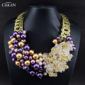 CHRAN Luxury Women Accessories Antique Bronze Beaded Crystal Statement Jewelry Lovely Purple Faux Pearl Chain Choker Necklace