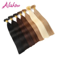 Alishow 100Strands Pre Bonded Keratin Nail U Tip Remy Human Hair Extensions 1g/s 100g/Pack Straight Nail Tip Hair
