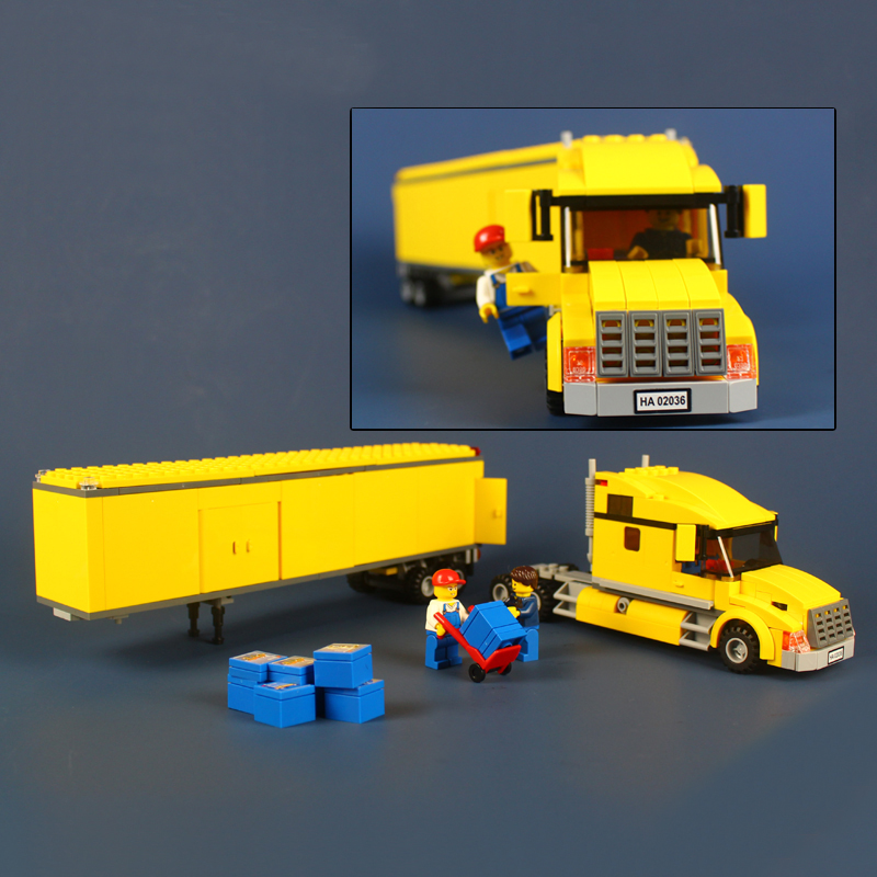 02036 City Yellow Truck Pickup Caravan Building Blocks Compatible With Lego City Truck 3221 Set Children Gift