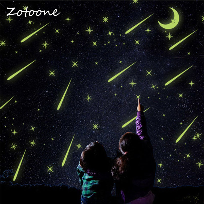 ZOTOONE Romantic Meteor Shower Wall Stickers Luminous Stars Moon Glow in the Dark Fluorescence Kids Room Nursery Mural Decal