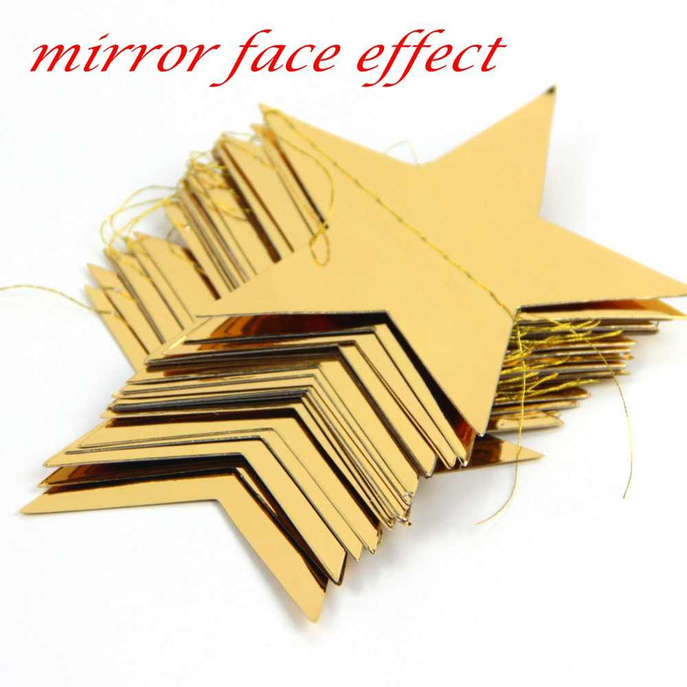 3.8M Foil Gold Star Garland Wedding Birthday Party Garland Party Bunting for Baby Shower Birthday Ist Home Banner Window Display