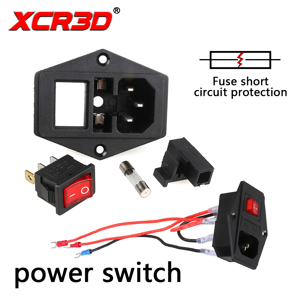 XCR3D power switch 3D Printer accessories <font><b>220V</b></font>/110V <font><b>10A</b></font> <font><b>fuse</b></font> wire safety switch short current protection system image