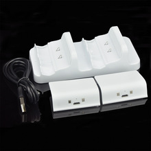 High Quality White Dual Charging Dock Charger + 2x 300mAh Rechargeable Battery for XBOX ONE Wireless Controller Gamepad