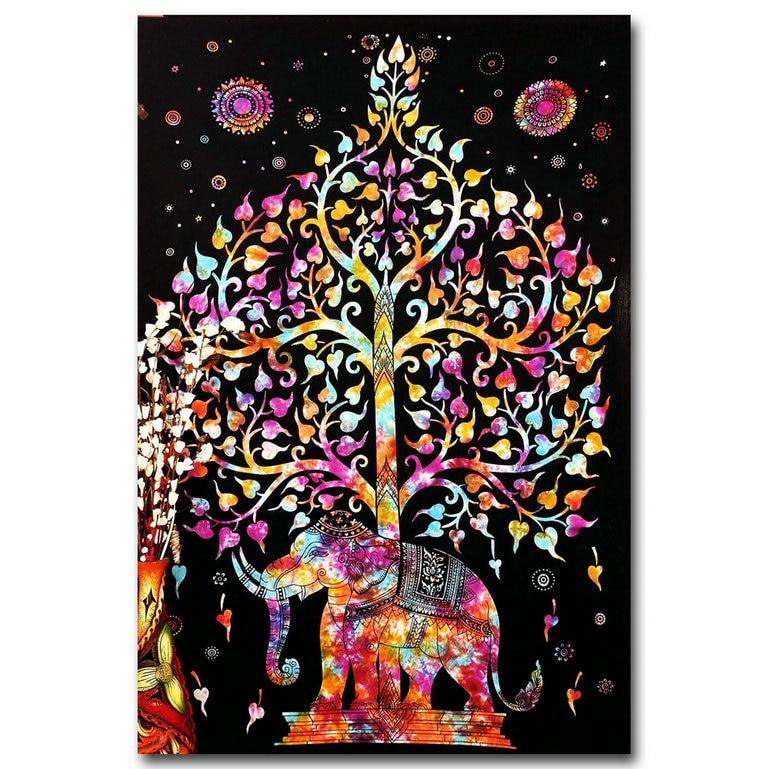 ღ ღNICOLESHENTING Éléphant et Arbre-Psychédélique Trippy Art Silk ...