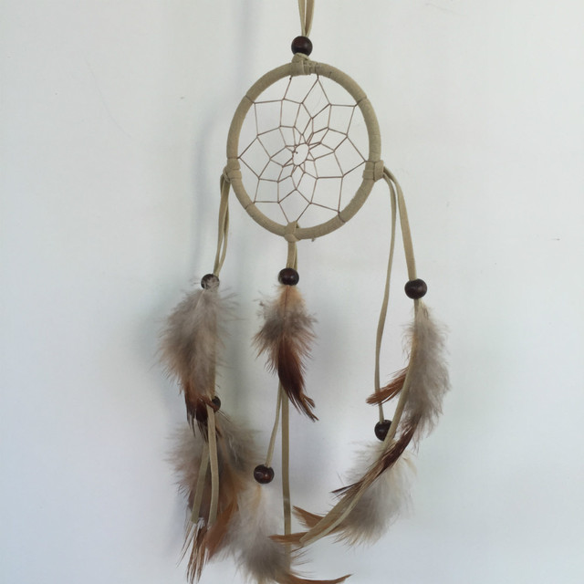 1pcs/lot gray chicken feather Dreamcatcher charm wind chimes Indian Wind  HANGING DECORATION